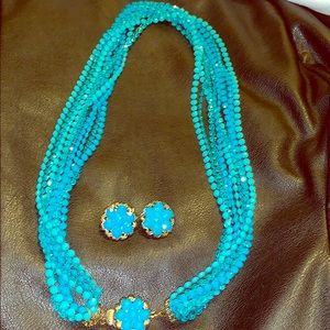 Beautiful blue vintage necklace and earrings set
